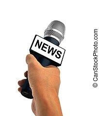 noticias, micrófono, llevar a cabo la mano