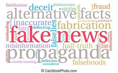 noticias, nube, palabra, falsificación