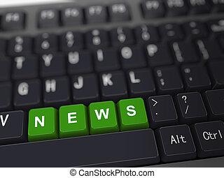 noticias, -, palabra, 3d, teclado