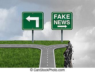 noticias, riesgo, falsificación