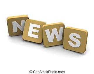 noticias, text., 3d, rendido, ilustración, aislado, en,...