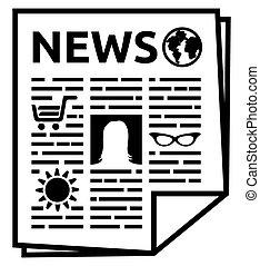 noticias, vector, icono