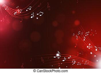 noticky, hudba, červené šaty grafické pozadí