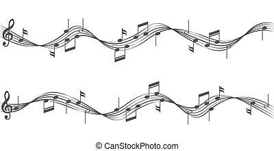 noticky, hudba, čini