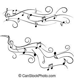 noticky, hudba, hůl