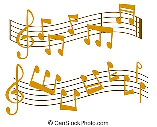noticky, hudba, vektor, melodie, colorfull, hudebník,...
