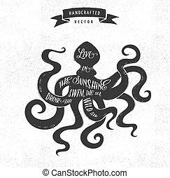 notieren, -, etikett, design, weinlese, hüfthose, oktopus, ...