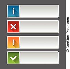 notificação, ícones, e, botões