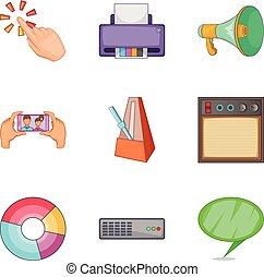 notificação, ícones, jogo, caricatura, estilo