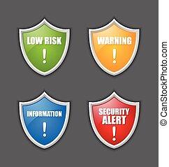 notificação, mensagem, escudos