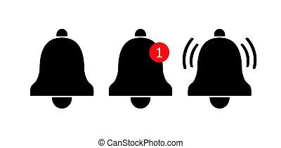 notificación, iconos, icon., campana