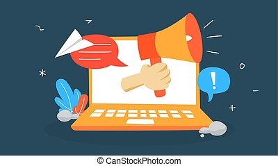 Notificaion concept illustration. Sound message in laptop computer. Sms or email unread. Flat vector illustration