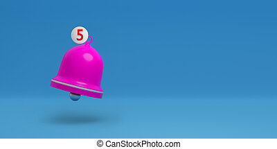 Notification bell icon isolated on pastel background. Notification concept. Social Media element. 3d illustration
