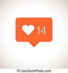 notification, compteur, aimer, icône