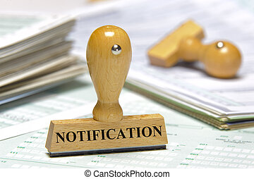 notification marked on rubber stamp