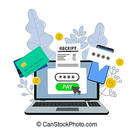 Notification of a financial transaction. Laptop with an electronic receipt. Online payment confirmation via SMS.