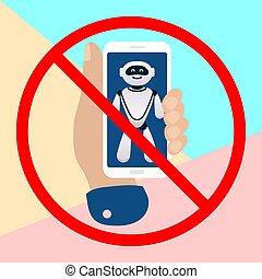 notifications, bot, tło, dzierżawa na zewnątrz, robot, ...