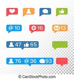 notifications, iconos, plantilla, vector., como, símbolo, mensaje, y, notificación, set., instagram, iconos
