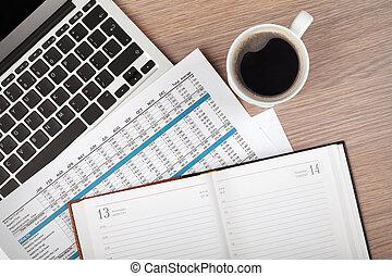 notizblock, laptop, und, kaffeetasse, auf, holz, tisch