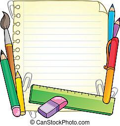 notizblock, leere seite, und, schreibwaren, 1