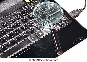 notizbuch, computer.