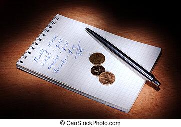 notizbuch, mit, kugelschreiber, geldmünzen, dunkeln