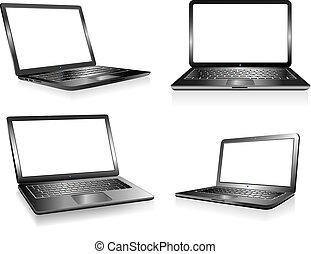 notizbuch, pc computer, laptop