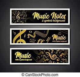 notizen, dauben, symbole, vektor, musik, abbildung, musikalisches