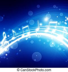 notizen, glühen, hintergrund, musikalisches