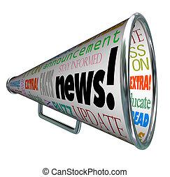 notizie, bullhorn, megafono, importante, allarme, annuncio