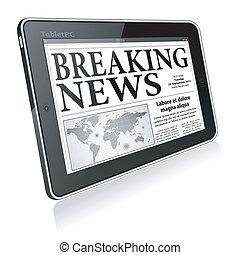 notizie, concetto, -, rottura, digitale