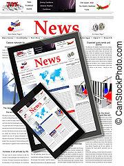 notizie, digitale, concetto