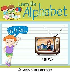 notizie, flashcard, lettera n