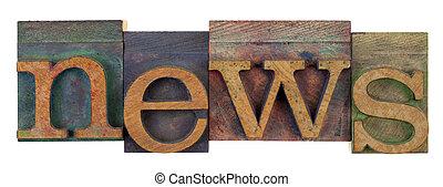 notizie, in, vendemmia, letterpress, tipo