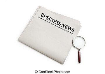 notizie, ingrandendo, affari, vetro