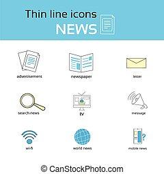 notizie, linea sottile, icone, set, collezione