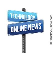 notizie, linea, tecnologia, segno strada