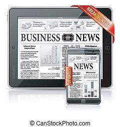 notizie rompere, concetto, -, pc tavoletta, &, smartphone, notizie affari