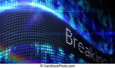 notizie rompere, messaggio, su, blu, pixel