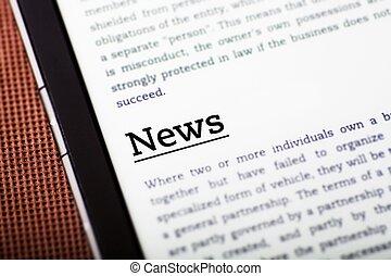 notizie, schermo, concetto, tavoletta, ebook