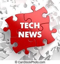 notizie, tecnologia, puzzle., rosso