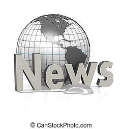 notizie, topo, globo