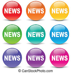notizie, vettore, set, icone