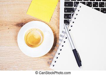 notpad, bohnenkaffee, closeup