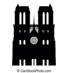 Notre Dame abstract - Notre Dame isolated on white