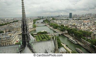 Notre Dame aerial cityscape