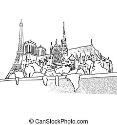 Notre Dame and Eiffel Tower travel scene. Hand drawn...