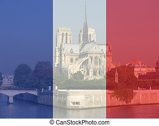 Notre Dame and French flag - Notre Dame viewed from the...