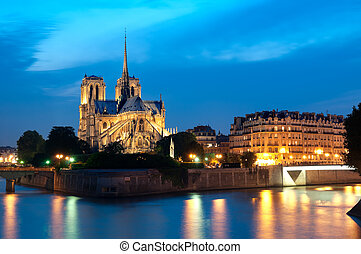 Notre Dame at night in Paris.