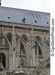 Flying Buttresses at Side of Notre Dame Cathedral in Paris France